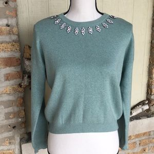 TopShop teal sweater with stone neckline